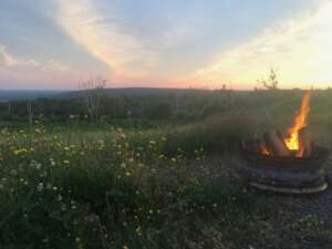 Evening camp fire at Iron Mountain Wilderness Cabins, Cape Breton Island