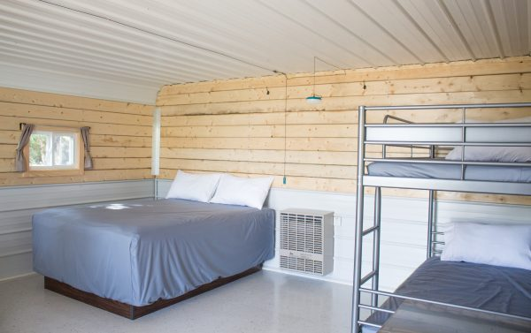 Pillow top mattress, solar lighting, wall heater and bunk beds.
