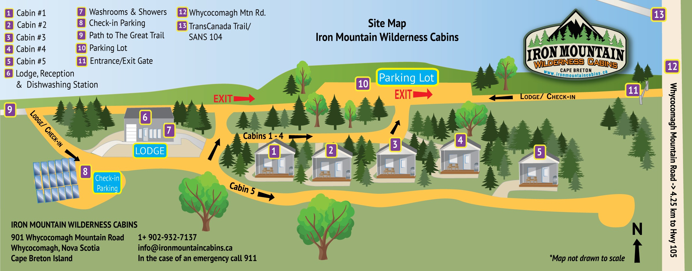 Illustrated map of Iron Mountain Wilderness Cabins campground and cabins