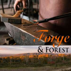Blacksmith working at anvil and mountain forest of Whycocomagh Cape Breton Island