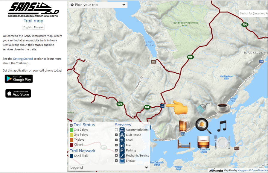 Download the SANS trail map app to your mobile device or view it online.